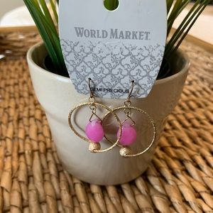 World Market Semi Precious Stone Dangle Earrings